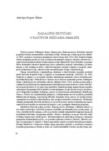 Kazališni kritičari o Raićevim režijama Hamleta / Antonija Bogner-Šaban