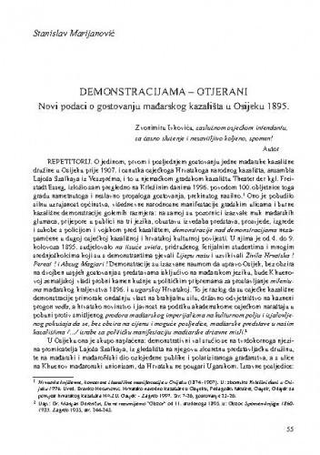 Demonstracijama - otjerani : novi podaci o gostovanju mađarskog kazališta u Osijeku 1895. / Stanislav Marijanović