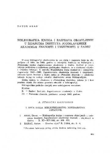 Bibliografija knjiga i rasprava objavljenih u izdanjima Instituta Jugoslavenske akademije znanosti i umjetnosti u Zadru / Davor Aras