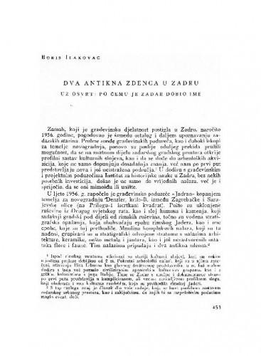 Dva antikna zendca u Zadru : uz osvrt: po čemu je Zadar dobio ime / Boris Ilakovac