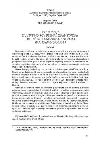 Kulturno-povijesna i znanstvena ishodišta spomeničke knjižnice Prandau-Normann / Marina Vinaj