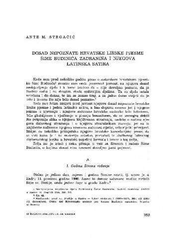 Dosad nepoznate hrvatske lirske pjesme Šime Budinića Zadranina i njegova latinska satira / Ante M. Strgačić