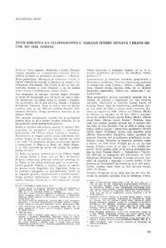 Život kmetova na veleposjedima u Baranji između Dunava i Drave od 1700. do 1848. godine / Magdolna Kiss