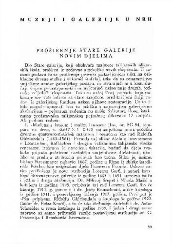 Proširenje Stare galerije novim djelima / Vinko Zlamalik