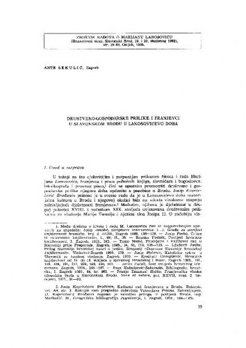 Društveno-gospodarske prilike i franjevci u Slavonskom Brodu u Lanosovićevo doba / A. Sekulić