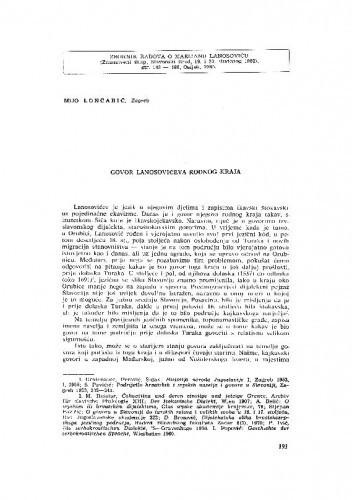 Govor Lanosovićeva rodnog kraja / M. Lončarić