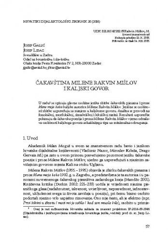 Čakavština Milene Rakvin Mišlov i kaljski govor / Josip Galić, Josip Lisac