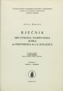 Sv. 9 : onakav-pocrpsti / za tisak priredili Josip Hann, Milan Moguš, Josip Vončina