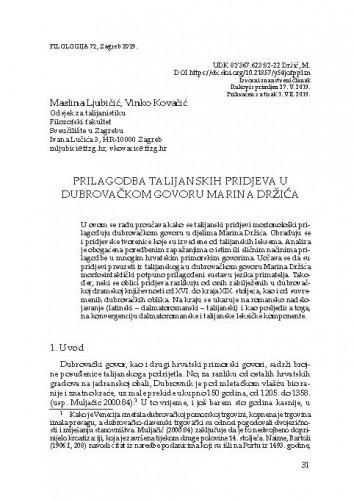 Prilagodba talijanskih pridjeva u dubrovačkom govoru Marina Držića / Maslina Ljubičić, Vinko Kovačić