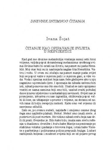 Čitanje kao opipavanje svijeta u nesvjestici : dnevnik intimnog čitanja / Ivana Šojat