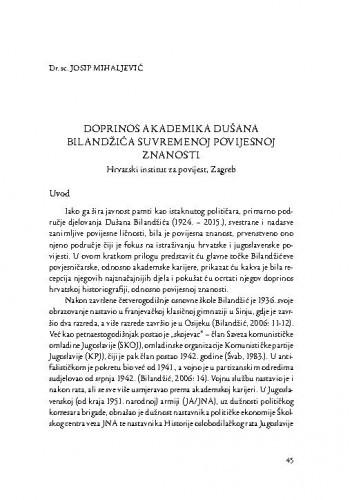 Doprinos akademika Dušana Bilandžića suvremenoj povijesnoj znanosti / Josip Mihaljević