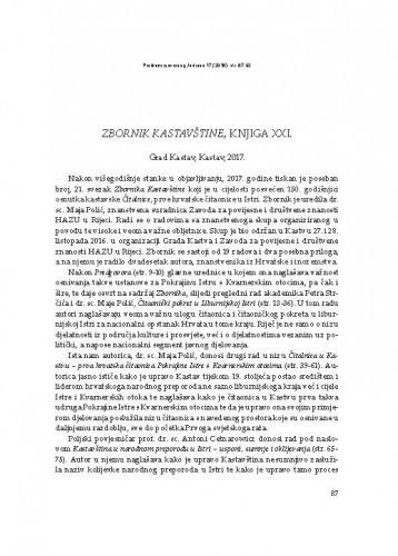 Zbornik Kastavštine, knjiga XXI., Grad Kastav, Kastav, 2017 : [prikaz] / Andrea Roknić Bežanić