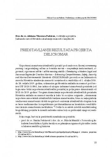 Predstavljanje rezultata projekta DELICROMAR / Adriana Vincenca Padovan
