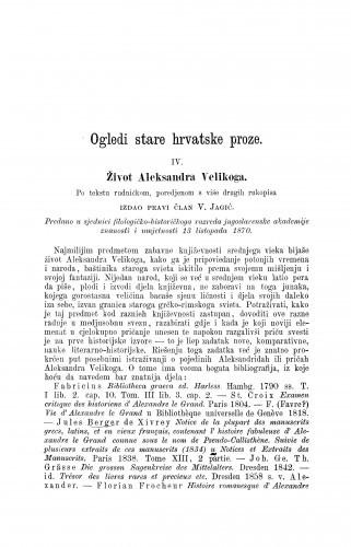 Život Aleksandra Velikoga : ogledi stare hrvatske proze / Vatroslav Jagić