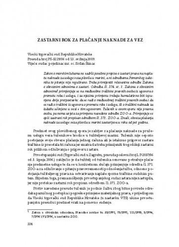 Zastarni rok za plaćanje naknade za vez (Visoki trgovački sud Republike Hrvatske, presuda broj Pž-5229/06 od 13. svibnja 2009.) : [prikaz] / Vesna Skorupan Wolff