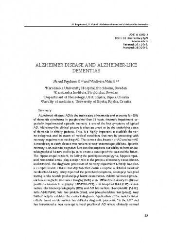 Alzheimer disease and Alzheimer-like dementias / Nenad Bogdanović, Vladimira Vuletić