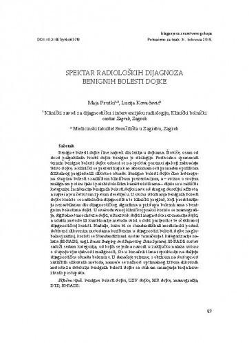 Spektar radioloških dijagnoza benignih bolesti dojke / Maja Prutki, Lucija Kovačević