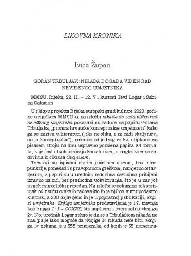 Likovna kronika / Ivica Župan