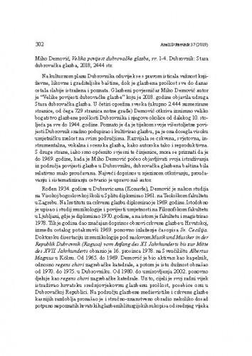 Miho Demović, Velika povijest dubrovačke glazbe, sv. 1-4. Dubrovnik: Stara dubrovačka glazba, 2018. : [prikaz] / Jelena Panić Grazio