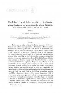 Ekološke i sociološke studije o litofitskim cijanoficejama sa jugoslavenske obale Jadrana / A. Ercegović