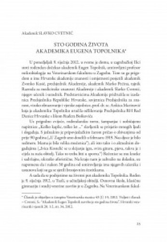 Sto godina života akademika Eugena Topolnika / Slavko Cvetnić