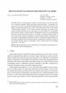 Pravni osvrt na spašavanje imovine na moru / Jelena Nikčević Grdinić
