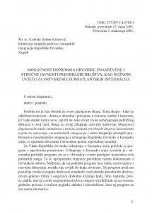 Mogućnost doprinosa hrvatske znanstvene i stručne javnosti preobrazbi društva, kao nužnom uvjetu za ostvarenje euroatlantskih integracija : A potential contribution by the Croatian scientific and professional community to the transformation of society as a precondition for attaining Euroatlantic integration / Kolinda Grabar Kitarović