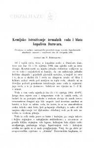 Kemijsko istraživanje termalnih voda i blata kupališta Daruvara / S. Bošnjaković