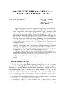 Polje primjene Roterdamskih pravila - unimodalni i multimodalni aspekti / Vesna Skorupan Wolff