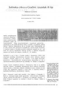 Solinska crkva u Gradini : izuzetak ili tip / Radovan Ivančević