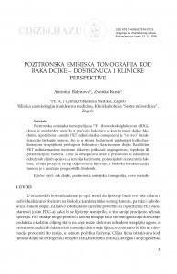 Pozitronska emisijska tomografija kod raka dojke - dostignuća i kliničke perspektive / Antonija Balenović, Zvonko Kusić