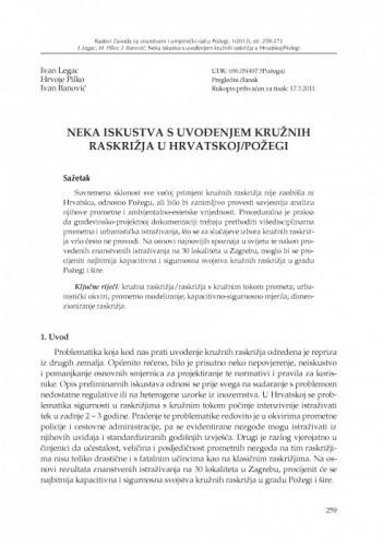 Neka iskustva s uvođenjem kružnih raskrižja u Hrvatskoj/Požegi / Ivan Legac, Hrvoje Pilko, Ivan Banović