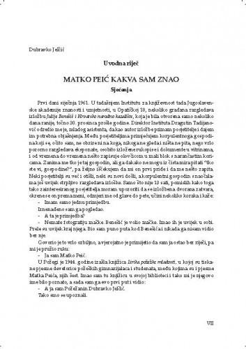 Matko Pejić kakva sam znao : sjećanja : uvodna riječ / Dubravko Jelčić