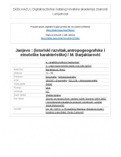 Janjevo : (istoriski razvitak,antropogeografske i etnološke karakteristike) / M. Barjaktarović