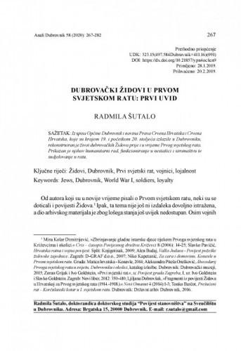 Dubrovački Židovi u Prvom svjetskom ratu: prvi uvid / Radmila Šutalo