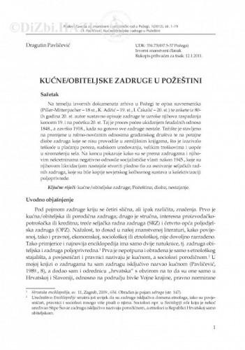Kućne/obiteljske zadruge u Požeštini / Dragutin Pavličević