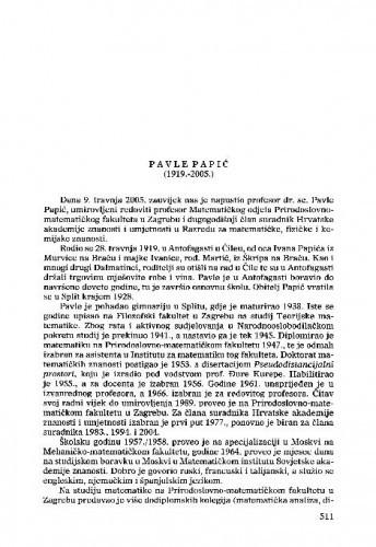 Pavle Papić (1919.-2005.) : [nekrolog] / Sibe Mardešić