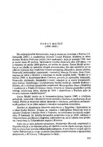Zoran Mušič (1909.-2005.) : [nekrolog] / Vera Horvat Pintarić
