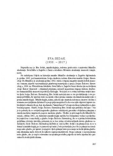Eva Sedak (1938.-2017.) : [nekrolog] / Dalibor Davidović