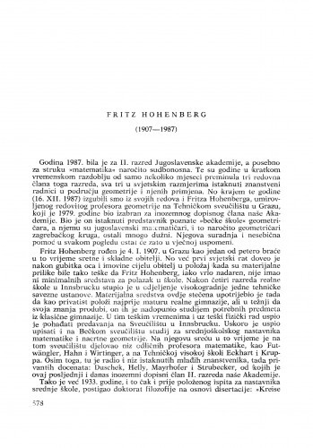 Fritz Hohenberg (1907-1987) : [nekrolozi] / Stanko Bilinski