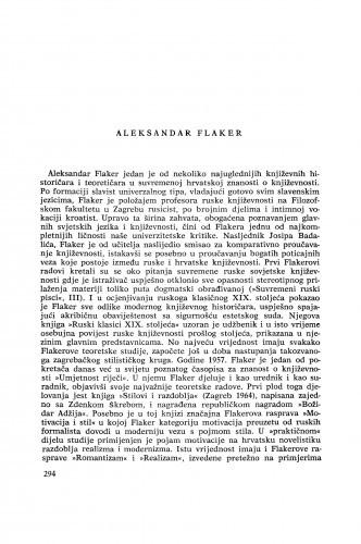Aleksandar Flaker : [biografije novih članova Akademije]