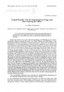 Leopold Ruzicka: Von der Isoprenregel zur Frage nach dem Ursprung des Lebens / A. Eschenmoser