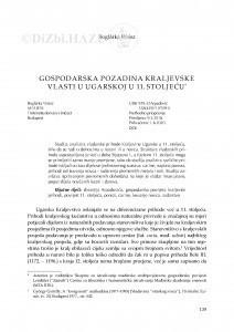 Gospodarska pozadina kraljevske vlasti u Ugarskoj u 11. stoljeću / Boglárka Weisz