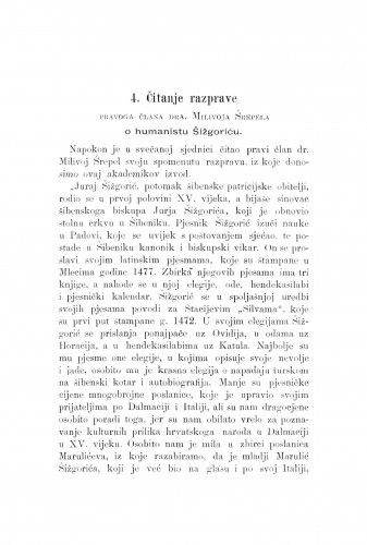 O humanistu Šižgoriću : [izvadak iz rasprave.] / M. Šrepel