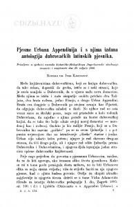Pjesme Urbana Appendinija i s njima izdana antologija dubrovačkih latinskih pjesnika / I. Kasumović