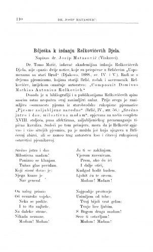 Bilješka k izdanju Relkovićevih Djela / J. Matasović