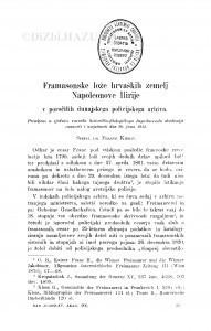 Framasonske lože hrvaških zemelj Napoleonove Ilirije v poročilih dunajskega policijskega arhiva / F. Kidrič