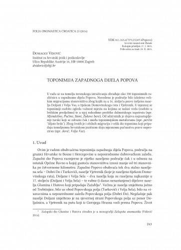 Toponimija zapadnoga dijela Popova / Domagoj Vidović