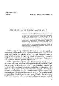 Šicel o Ivani Brlić-Mažuranić / Stjepan Hranjec