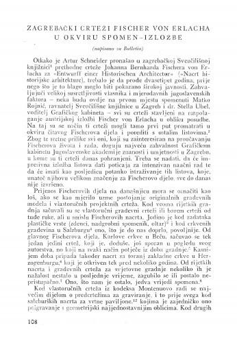 Zagrebački crteži Fischer von Erlacha u okviru spomen-izložbe / Hanz Aurenhammer